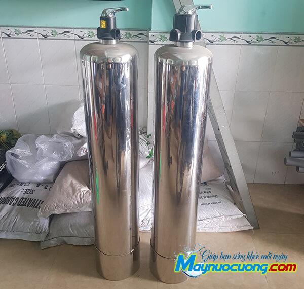 Cột lọc thô inox sử dụng van 3 ngã